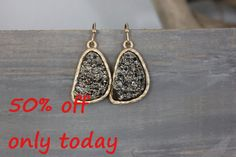 Hey, I found this really awesome Etsy listing at https://www.etsy.com/listing/167888374/druzy-hematite-earrings-rich-color