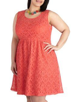 Dainty Dally Dress in Coral - Plus Size | Mod Retro Vintage Dresses | ModCloth.com SALE $30.99