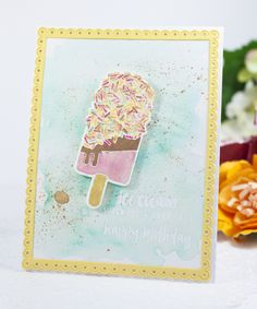 Ice Cream Birthday Card by Ashley Cannon Newell for Papertrey Ink (July 2016)