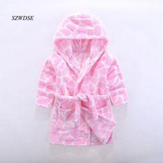 2018 Children s Autumn Winter soft Flannel warm long Robes boys girls   cow Leopard 3fb456b24