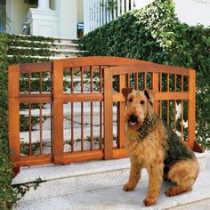 Need an easy way to keep your dog on your deck? A wood Sliding Dog Gate - just sit it down  slide it out. http://impc.co/14FDknP