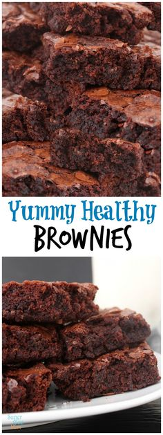 Yummy Healthy Fudgy Chunky Chocolate Brownies from LauraFuentes.com