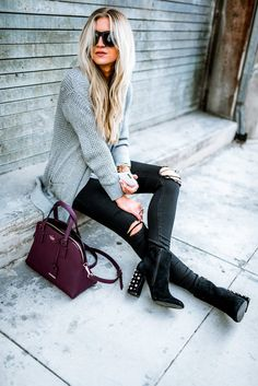 Elle Apparel | Grey Sweater + Black Jeans + Embellished Booties, styled casual.