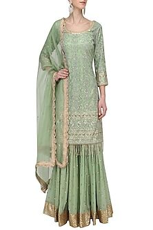Megha & Jigar presents Fern Green Embroidered Sharara set available only at Pernia's Pop Up Shop. Pakistani Dresses, Indian Dresses, Indian Outfits, Indian Clothes, Indian Anarkali, Sharara Designs, Indian Designer Suits, Indian Attire, Indian Wear