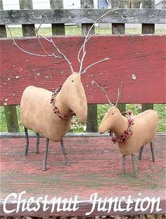 "Prim Reindeer are wonderful for any holiday decor, and are accented with store bought berries. They will measure 8"" and 11"" when complete.   PDF epattern includ"