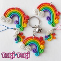 Rainbow KeyChain Kawaii Polymer Clay Keychain by MadeByTokiToki