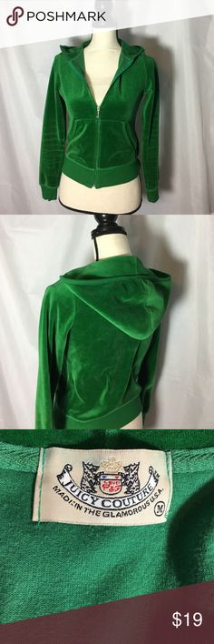 Juicy Couture Velour Hoodie Soft velour in a gorgeous Kelly Green color. Used but very good condition. Juicy Couture Other