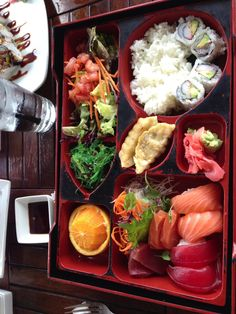 Sushi and sashimi bento box