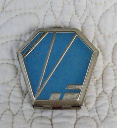 Vintage Milrone Art Deco Makeup Powder Rouge Blush Compact Blue Enameled