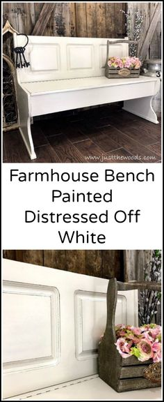 Give your furniture a farmhouse style update with a creamy off white chalk type paint and distressed finish. This painted bench lost its orange glow and gained a farmhouse feel