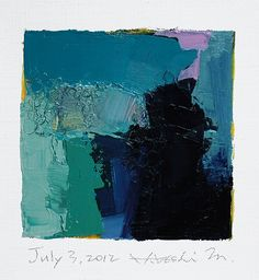 "This is an Original Abstract Oil Painting by Hiroshi Matsumoto    Title: July 3, 2012  Size: 9.0 cm x 9.0 cm (app. 4"" x 4"")"