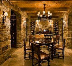 Limestone pavers, wine cellar basement, wine tasting room, home wine cellar Bar Deco, Wine Cellar Basement, Home Wine Cellars, Wine Cellar Design, Wine Tasting Room, Cigar Room, Italian Wine, Wine Storage, Storage Ideas