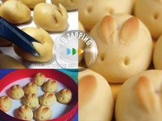 Bollos en forma de conejos de pascua. Como hacer éstos adorable bollos en forma de conejos pascua. El secreto para dar forma a las orejas son las tijeras
