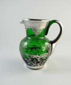 Vintage Venetian Murano glass jug with silver overlay by FeliceSereno