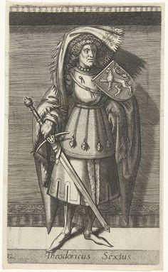 Willem Thibaut | Portret van Dirk VI, graaf van Holland, Willem Thibaut, Christoffel Plantijn, Philips Galle, 1578 | Dirk VI, graaf van Holland. Staande, ten voeten uit. Hij draagt een zwaard in zijn rechterhand. Op zijn linkerschouder het wapenschild van Holland. De prent dient als een illustratie bij een boek over de geschiedenis van de graven van Holland.