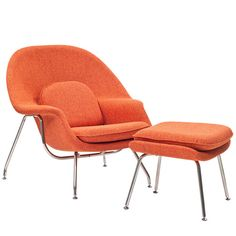 Modway W Fabric Lounge Chair in Orange Tweed