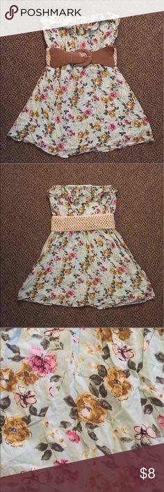 Mini Dress Very cute mini dress. Ruffle around bust and back. Belt is detachable. Can fit an XSmall. Dresses Mini