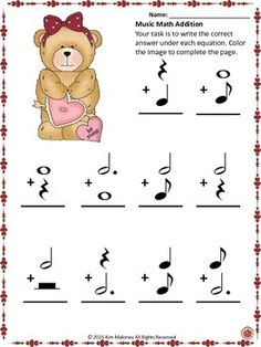 TWO Music Math sheets with a Valentine's Day theme! Music Math, Music Games, Music Activities, Music Classroom, Classroom Resources, Music Theory Worksheets, Middle School Music, Piano Teaching, Elementary Music
