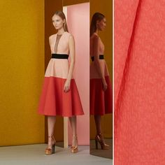 Add some detail to a simple color blocked skirt by using a textured jacquard…