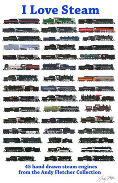 Hand draw Steam engine drawings by Andy Fletcher Train Drawing, Old Steam Train, Train Posters, Railroad Pictures, Railroad History, Old Trains, Vintage Trains, Train Art, Train Pictures