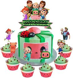 Amazon.com: Set of Acrylic Cocomelon Happy Birthday Cake Topper, Cocomelon Cake Topper, Cocomelon Nursery Rhymes Party Decoration Supplies, Kids Party Favor ( 7Pcs ): Home & Kitchen Watermelon Birthday Parties, 2nd Birthday Party Themes, Birthday Supplies, Birthday Decorations, Birthday Ideas, Happy Birthday Cake Topper, Birthday Cake Girls, Nursery Rhyme Party, Nursery Rhymes