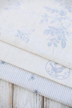 Blue and white powder puff fabric