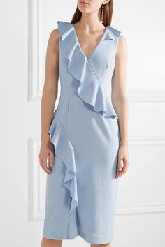 Sky-blue crepe Ties and concealed hook and zip fastening at back 97% polyester, 3% elastane; lining: 97% polyester, 3% elastane Dry clean Designer color: Skylight