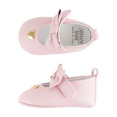 66894a0d6 Armani Baby Girls Pink Leather Pre Walkers With Bow