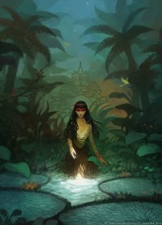 """janainaart: """" The Vitória-Régia legend ~ Brazilian mythology. """"The moon (Jaci) was a goddess who took for yourself the most beautiful virgin natives and transformed them into stars in the firmament. Character Inspiration, Character Art, Visionary Art, Native American Art, Graphic, Dark Art, Folklore, Mythology, Fantasy Art"""