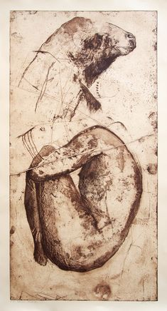 Denis Haračić. The sacrifice. etching, aquatint. 110x60 cm. 2016