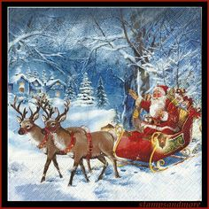 4 Santa In Sleigh With Reindeer Paper Decoupage Napkins - Use For Crafts, Mixed Media, Scrapbooking, Collage And Altered Art Projects via Etsy