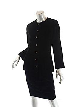 150cd3e6cdc Details about YVES SAINT LAURENT VINTAGE Black Velvet Skirt Suit with  Pretty buttons 36/38 US6
