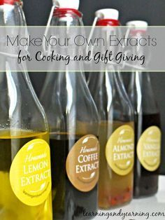 Make Your Own Extracts for Cooking and Gift Giving! Pure extracts can be pricey, but you can easily make them at home for a lot less. Package them in attractive jars, and you have a unique item for gift giving.