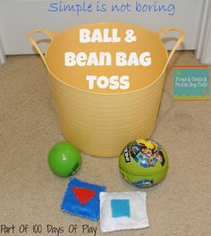 10 Activities For Busy Toddlers - FSPDT Ball and Bean Bag Toss- Classic Fun {One of 100 Days of Play ideas for you} Gross Motor Activities, Movement Activities, Rainy Day Activities, Indoor Activities For Kids, Gross Motor Skills, Infant Activities, Preschool Activities, Bean Bag Activities, Activities For One Year Olds
