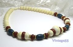 Vintage Necklace Beaded  Rustic Colors by Vintage55 on Etsy, $18.00