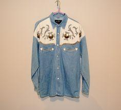 Vintage Men's Johnny Halliday Western Rockabilly Denim Shirt by CheekyVintageCloset on Etsy Vintage Shirts, Vintage Men, Denim Button Up, Button Up Shirts, Johnny Halliday, Western Shirts, Denim Shirt, Rockabilly, Westerns