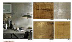 Metallic Grasscloth Wallpaper= liquid metal Madagascar- Focal wall hallway