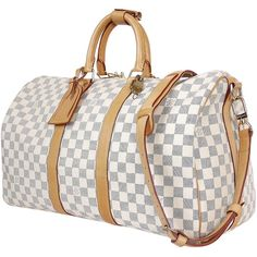 Pre-Owned Louis Vuitton Damier Azur Keepall Bandoulière 45 Travel Bag (99,635 INR) ❤ liked on Polyvore featuring bags and white