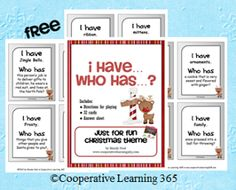 A favorite among students and teachers too, an I have...Who has...game just in time for the holidays.  This version has been updated and now includes 32 cards!