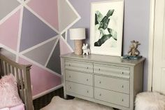 Feather Skirt DIY   ...love Maegan Pink Gray Bedroom, Pink Bedroom Decor, Girl Bedroom Walls, Purple Rooms, Accent Wall Bedroom, Pink Purple, Girls Room Paint, Little Girl Rooms, Triangle Wall