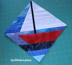 Making a Strip Pieced Sailboat how to make an improv sailboat for a string quilt Jelly Roll Quilt Patterns, Quilt Block Patterns, Pattern Blocks, Quilt Blocks, Jellyroll Quilts, Patchwork Quilting, Scrappy Quilts, Crazy Quilting, Quilting Projects