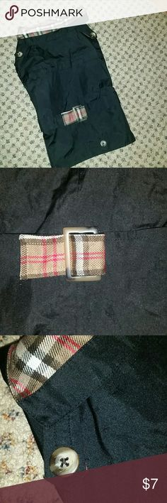 """Price drop! doggie trench coat, small 16in long PRICE DROP! NWOT*Turner & Dash - New York """"Ruff Weather Wear""""* Black trench style coat. Shell is black polyester, soft acrylic tan plaid (Burberry inspired) lining & accent collar. Tan & black button details & plaid """"belt"""". Size - Small. Measures 16in long, so measure from neck to base of tail for fit. Perfect little unisex coat for any weather! Literally like new, purchased it but my puppy hasn't grown into it so I need to sell this new one…"""