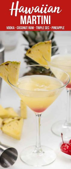 Have a Hawaiian Martini to feel like you're at the beach! This martini recip… Have a Hawaiian Martini to feel like you're at the beach! This martini recipe has all the flavors of Hawaii: pineapple, orange, and coconut! via Crazy for Crust Bar Drinks, Cocktail Drinks, Yummy Drinks, Cocktail Recipes, Dinner Recipes, Pineapple Martini Recipes, Beverages, Tropical Martini Recipe, Best Martini Recipes
