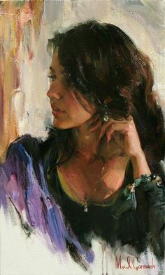 The Garmash's incredible talent is only matched by their love and career stories. Michael and Inessa won several International awards for their portrait work and are considered to be one of the most important figurative artists working on the US market. Woman Painting, Figure Painting, Painting Art, Figurative Kunst, Portrait Art, Beautiful Paintings, Indian Art, Artist At Work, Love Art