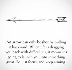 An arrow can only be shot by pulling it backward. When life is dragging you back with difficulties, it means it's going to launch you into something great. So just focus and keep aiming. Yeah baby, this is totally #WildlyAlive! #selflove #fitness #health #nutrition #weight #loss LEARN MORE → www.WildlyAliveWeightLoss.com