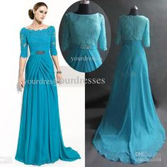 Wholesale Modest Turquoise Floor-length Lace Mother Of The Bride Dresses With Half Sleeves Chiffon WY-24, Free shipping, $84.0-112.0/Piece | DHgate
