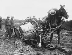 Blog: https://justinfoxafrica.wordpress.com/category/blog/ Caption: A water cart stuck in the mud near Ypres. (photo: Wales at War)