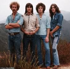History: The founding members of The Eagles standing on the edge of Topanga Canyon with Glenn Frey far right Eagles Music, Eagles Band, The Edge, History Of The Eagles, Best Selling Albums, Randy Meisner, Topanga Canyon, Glenn Frey, Hotel California