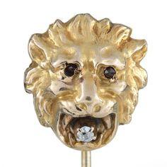 Stick pin stickpin antique vintage Lion head   Diamond gold   antique single cut diamond   10 kt   Victorian   garnet eyes   1800's by DavidJThomasJewelry on Etsy