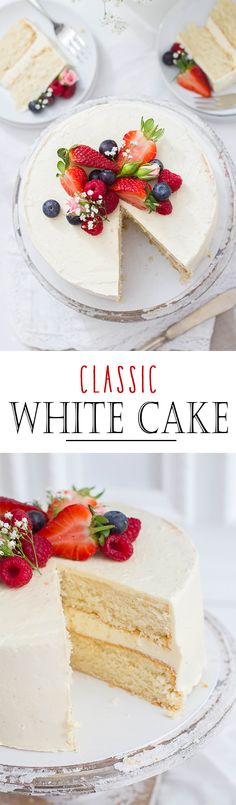Classic White Cake with creamy, american Butter Cream and berry topping | Klassischer White Cake mit fluffiger, amerikanischer Buttercreme und Beeren Topping